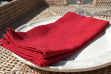 Napkins, Plain Dyed 41x41cm Christmas Red Pack of 4