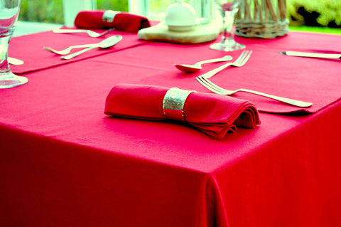 Tablecloth, 100% Cotton Plain Dyed Christmas Red 8 Sizes Square Round Oblong