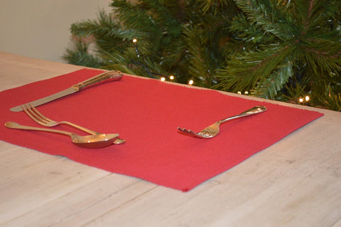 Placemats, Rib Style 33x45cm Christmas Red Pack of 2