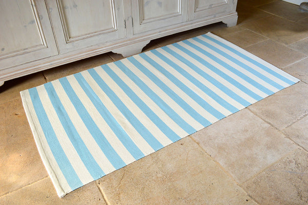 Floor Rug, 100% Cotton Salcombe Stripe Flat Weave Azure Blue/Vanilla Cream 2 Sizes