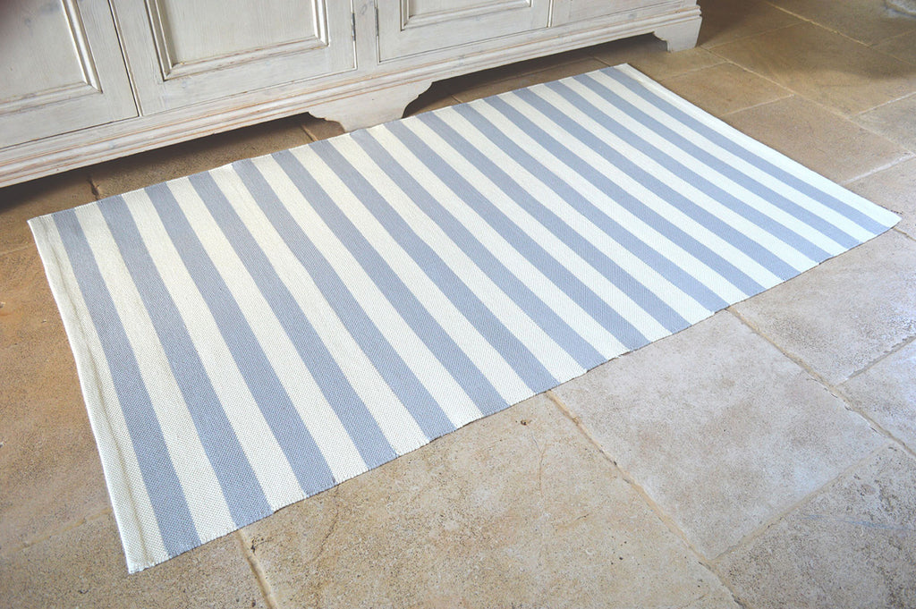 Floor Rug, 100% Cotton Salcombe Stripe Flat Weave Dove Grey/Vanilla Cream 2 Sizes