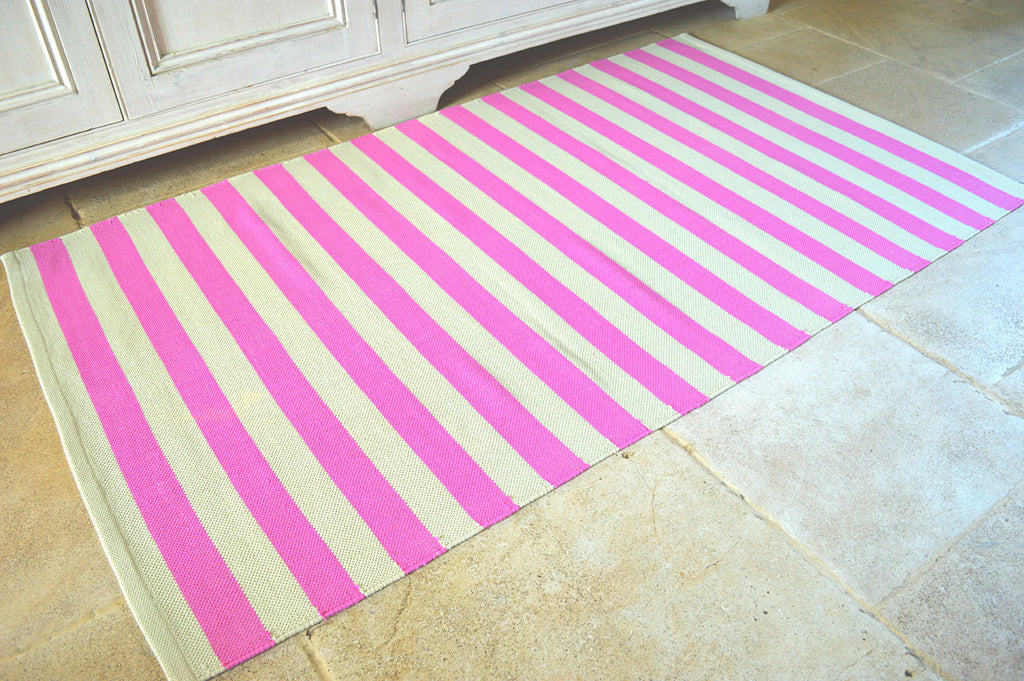 Floor Rug, 100% Cotton Salcombe Stripe Flat Weave Fuchsia Pink/Sand 2 Sizes