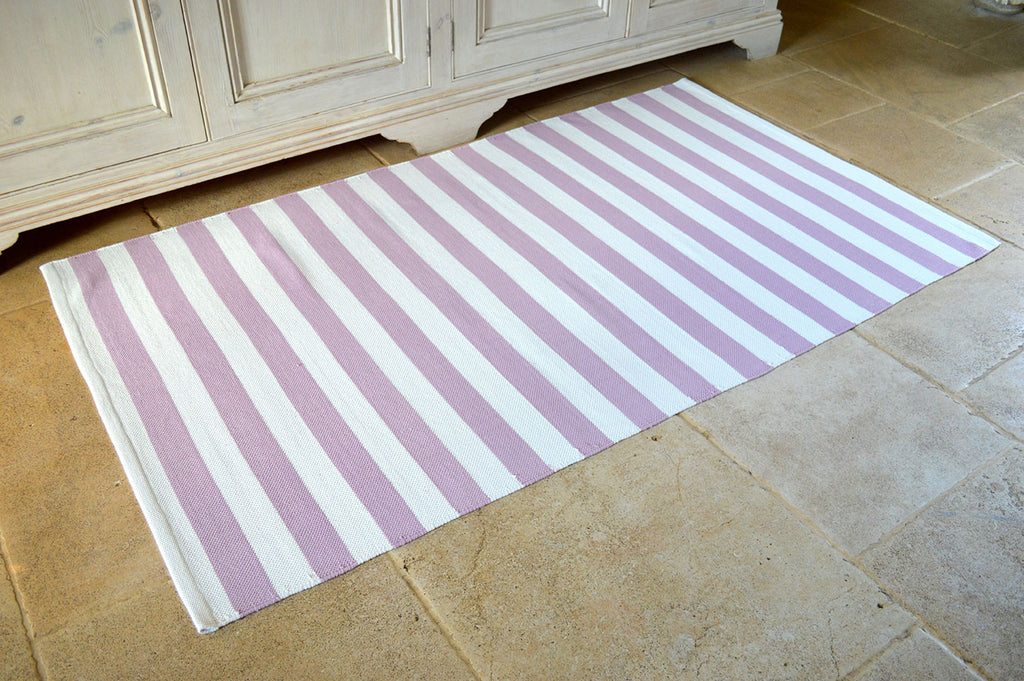 Floor Rug, 100% Cotton Salcombe Stripe Flat Weave Orchid Pink/White 2 Sizes