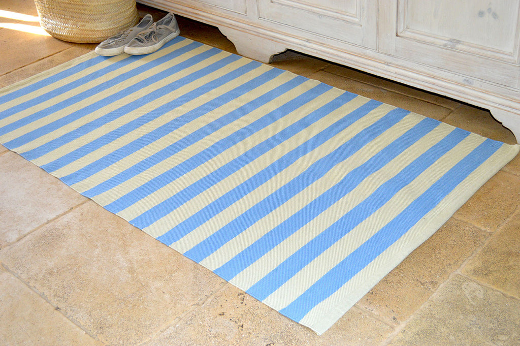 Floor Rug, 100% Cotton Salcombe Stripe Flat Weave Storm Blue/Sand 2 Sizes