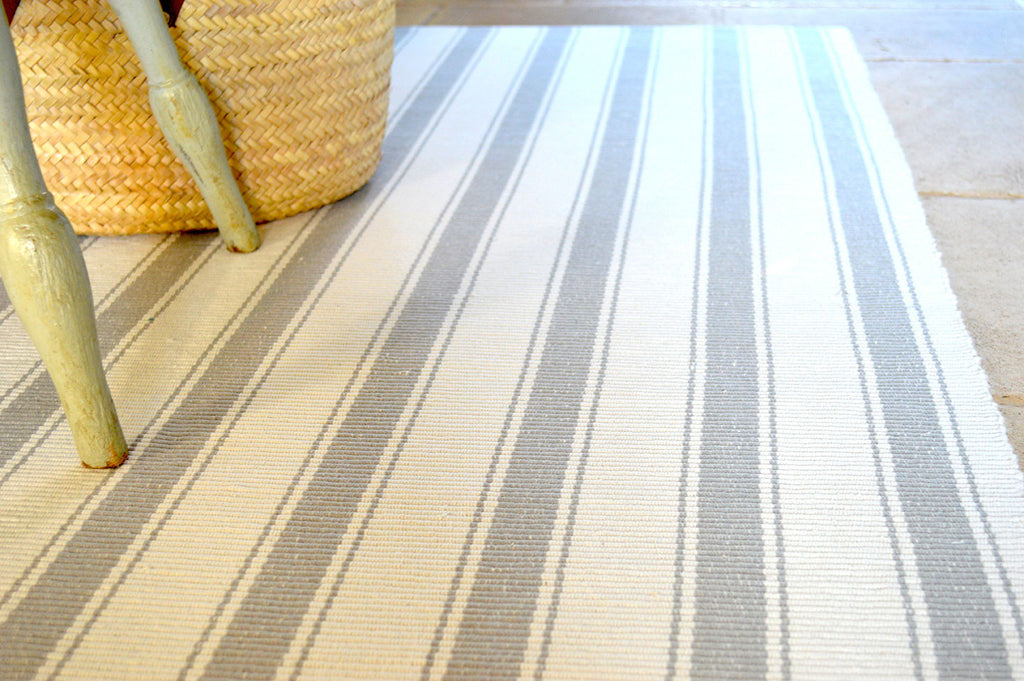 Floor Rug, 100% Cotton Solent Stripe Rib Weave in Dove Grey/White 2 Sizes