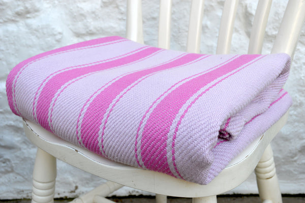 Throw, Solent Stripe in Fuchsia Pink/Orchid Pink 135x152cm