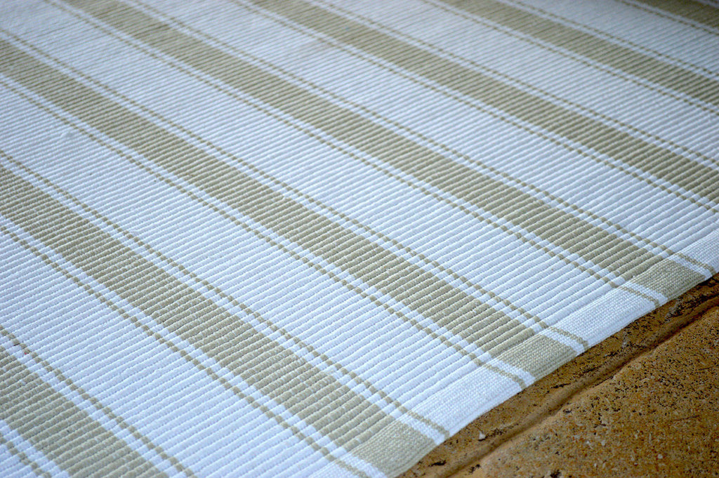 Floor Rug, 100% Cotton Solent Stripe Rib Weave in Golden Sand/White 2 Sizes