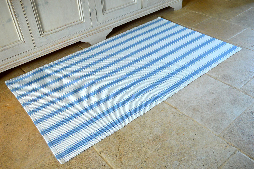 Floor Rug, 100% Cotton Solent Stripe Rib Weave in Storm Blue/White 3 Sizes
