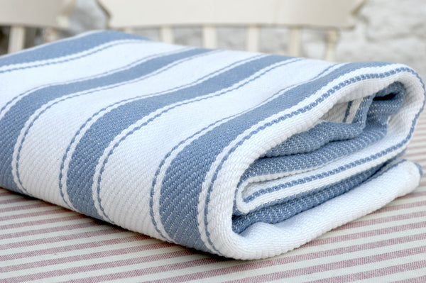 Throw, Solent Stripe in Storm Blue/White 135x152cm