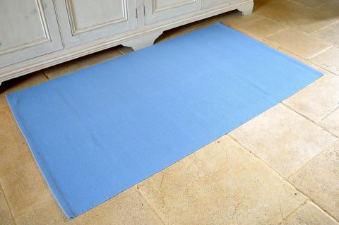 Floor Rug, 100% Cotton Flat Weave Storm Blue 2 Sizes