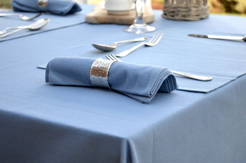 Tablecloth, 100% Cotton Plain Dyed Storm Blue 7 Sizes Square Round Oblong