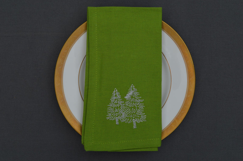 Christmas Napkins, Green with Silver Embroidered Christmas Trees 41x41cm 16x16
