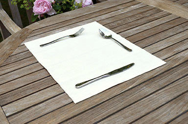 Placemats, Rib Style 33x45cm Vanilla Cream Pack of 2