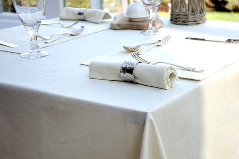 Tablecloth, 100% Cotton Plain Dyed Vanilla Cream 7 Sizes Square Round Oblong