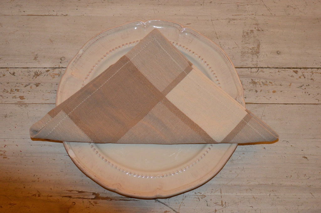 Napkins, Woven Large Check 41x41cm Beige / Cream pack of 4