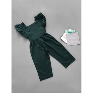 Girls Frill Trim Solid Jumpsuit
