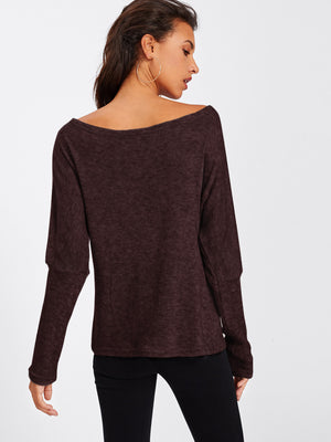 Burgundy Off the Shoulder Sleeve Sweater