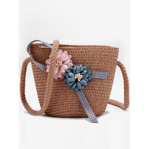 Girl's Crossed Brown Straw Bag