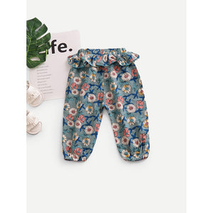 Toddlers flower pattern hipster pants.