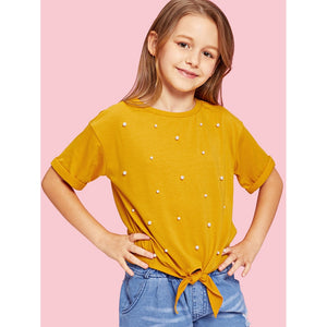 Girls Knot Front Roll Up Sleeve Pearl Beading Top