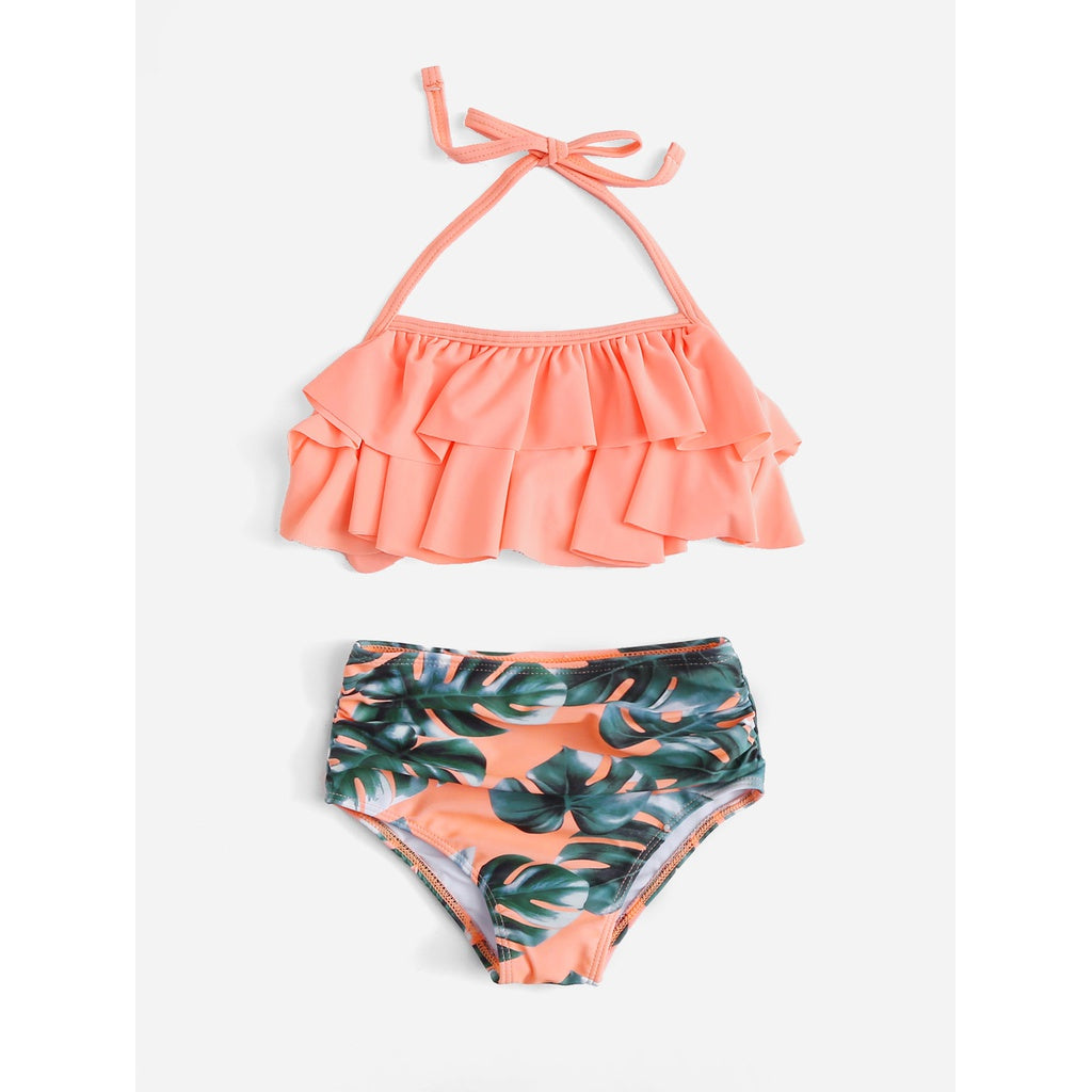 Girls Palm Print Ruffle Bikini Set