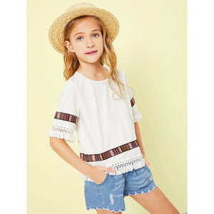 Girls Fringe Trim Embroidered Blouse
