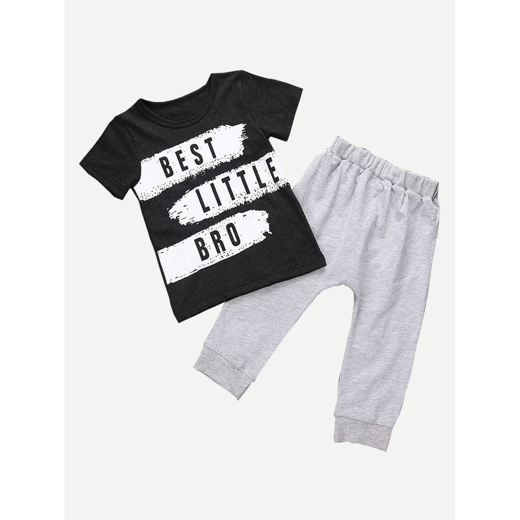 "T-shirt and sweat pants ""best little bro"" combo."