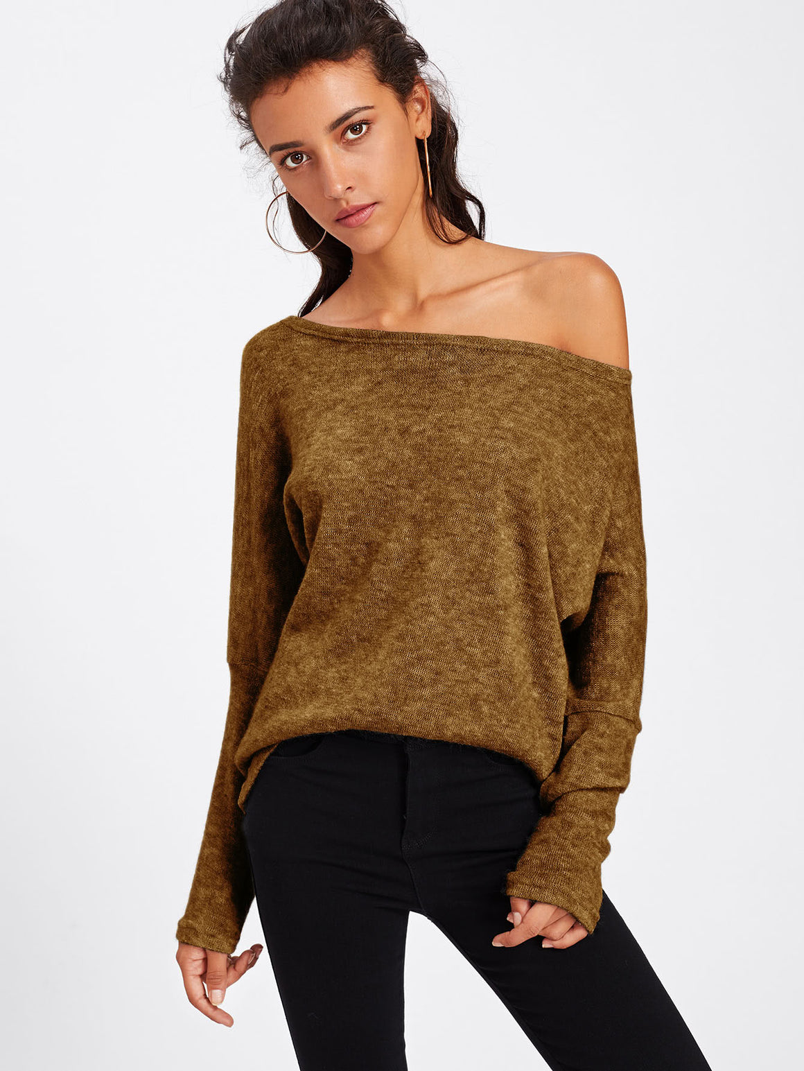 Mustard Asymmetric Shoulder Batwing Sleeve Sweater