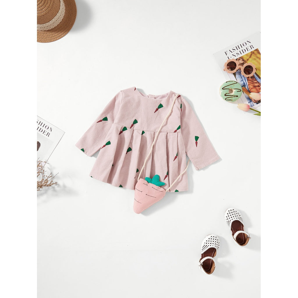 Girls Radish Print Pleated Top With Radish Bag