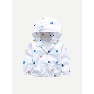 Toddler car print cotton white hooded jacket.