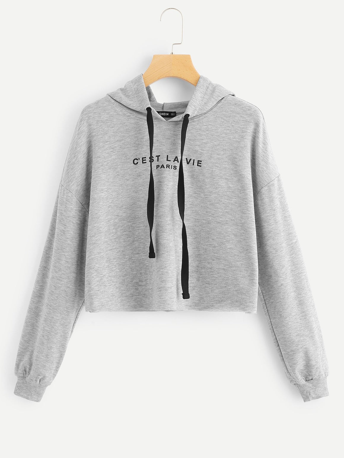 Drop Shoulder Drawstring Hoodie Crop Sweatshirt