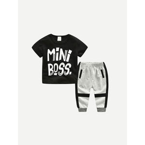 Mini Boss toddler t-shirt and sweatpants combo.