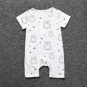 Short sleeve bunny print cotton romper