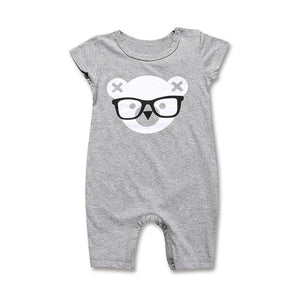 Short sleeve teddy face romper