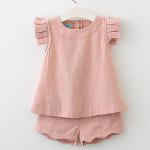 Girls pink two piece outfit