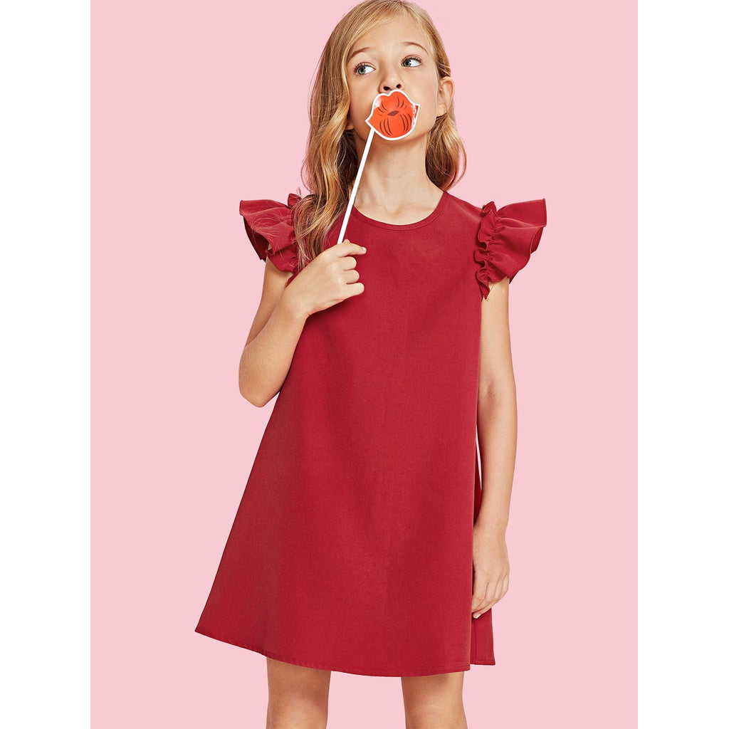 Ruffle shoulder chic simple red tunic dress.