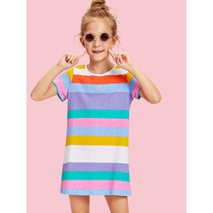 Girls Casual Striped Tee Dress