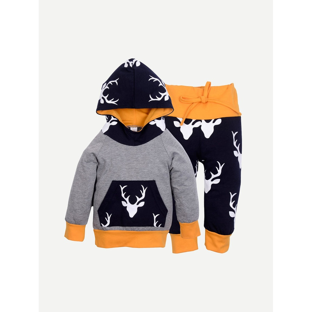 Boy Clothes Deer Tops Hooded Sweater + Pants  2pc Outfits Set
