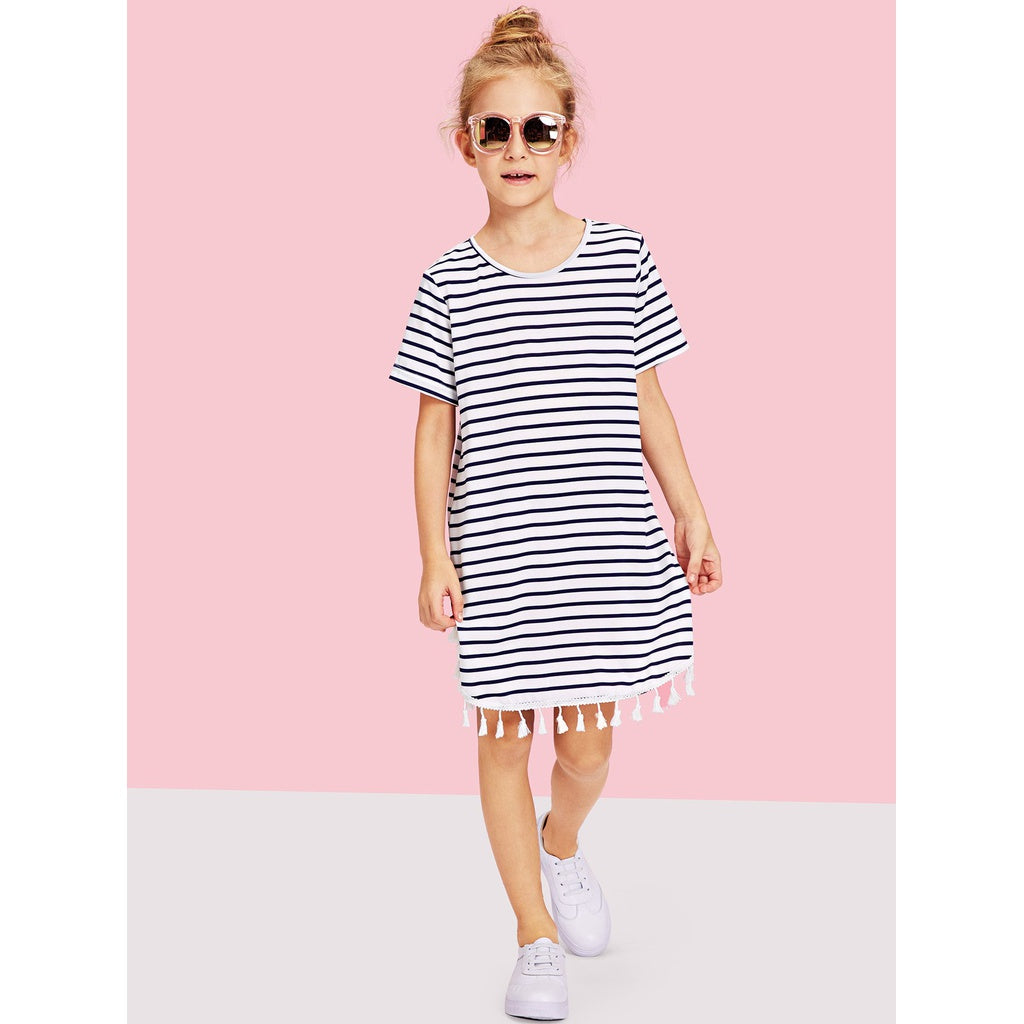 Girls Tassel Hem Striped Dress