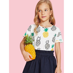 Girls Fruit Print Cuffed Sleeve T-shirt