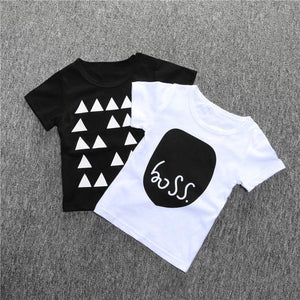 Round neck, black t-shirt with abstract triangle design.