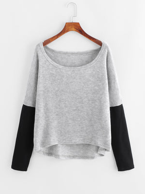 Dip Hem Long Sleeve Sweater