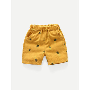 Boys Pineapple Print Elastic Waist Shorts