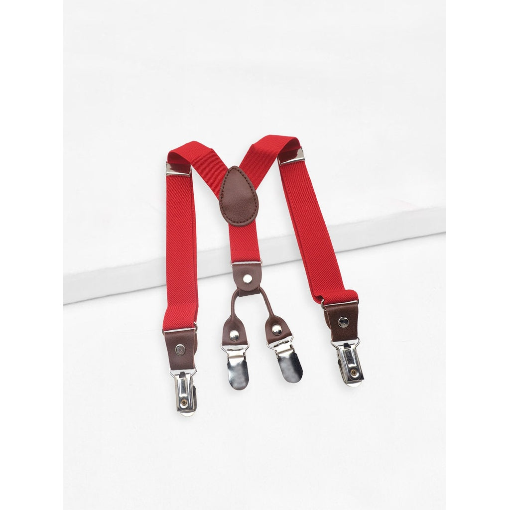 Plain red banker suspenders style.
