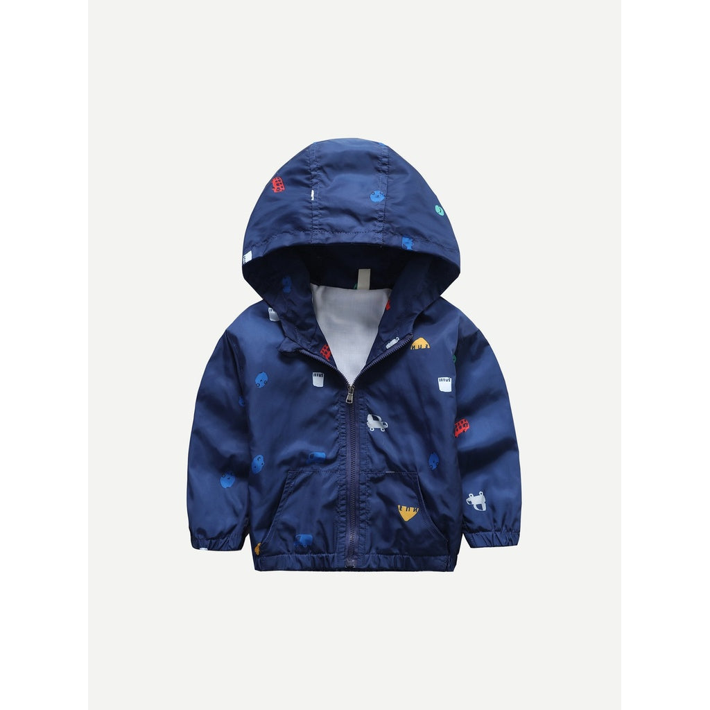 Toddler Boys Car Print Hooded Jacket