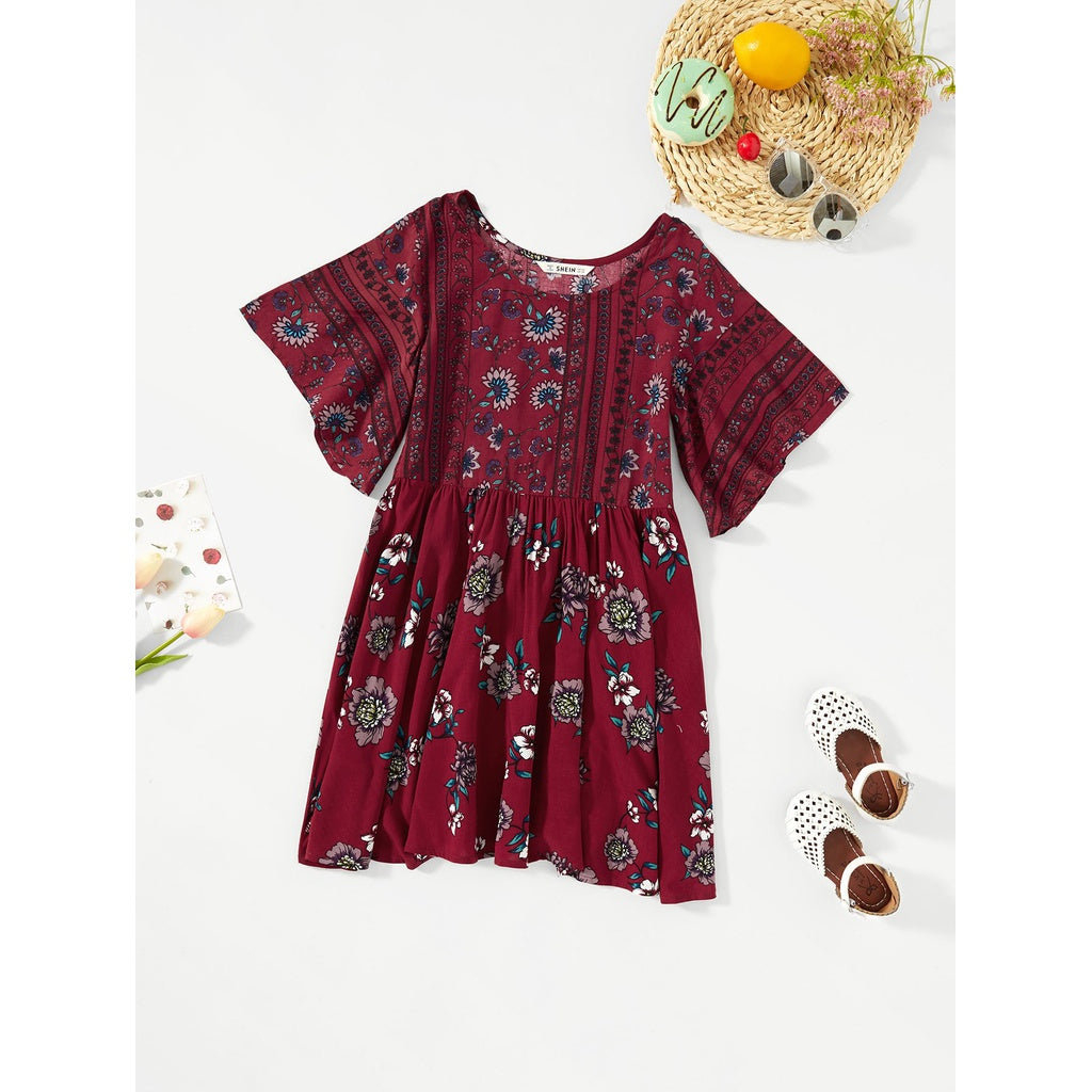 Girls Flower Print Pleated Tunic Dress bohemian