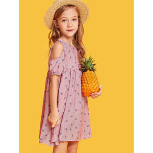 Girls Cold Shoulder Pineapple & Striped Dress