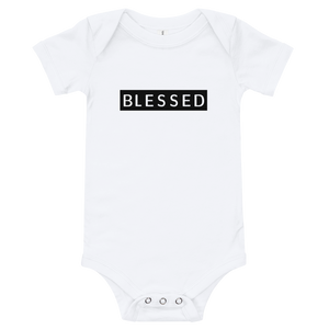 "Cotton one piece with the ""blessed"" sign printed on it for your baby. It has three snap leg closure for easy changing, a comfortable envelope neckline."