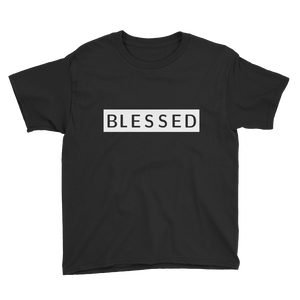"A lightweight youth ""blessed"" sign t-shirt"