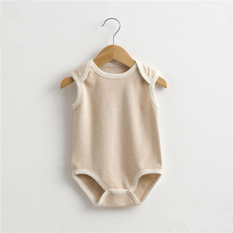 e6561b108 2017 Summer new Boy girl clothing natural Organic colored cotton baby infant  jumpsuit sleeveless Newborn Rompers